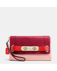 COACH | Pink Swagger Clutch In Colorblock Pebble Leather | Lyst