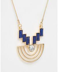 ASOS | Blue Geo Shapes Pendant Necklace | Lyst
