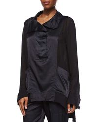 Donna Karan Black Funnel-Neck Pullover Tunic