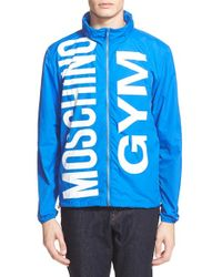 Moschino Blue Waterproof Nylon Rain Jacket for men