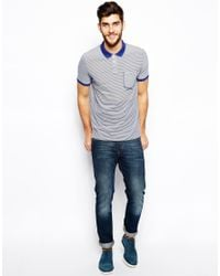 Paul Smith White Polo with Contrast Collar Stripe for men