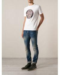 Stone Island White Logo Print Tshirt for men