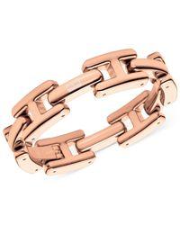 Tommy Hilfiger Pink Rose Gold-Tone H Logo Link Bracelet