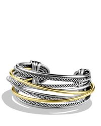 David Yurman | Metallic Crossover Cuff With Gold | Lyst