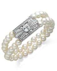 Arabella | White Bridal Cultured Freshwater Pearl (6-1/2mm) And Swarovski Zirconia (2-3/4 Ct. T.w.) Two-row Bracelet In Sterling Silver | Lyst