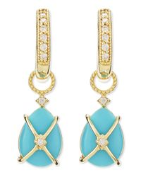 Jude Frances - Blue Wrapped Turquoise Earring Charms With Diamonds - Lyst