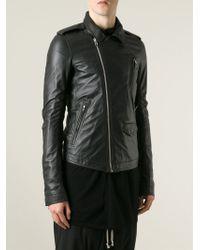 Rick Owens - Black Fitted Biker Jacket for Men - Lyst