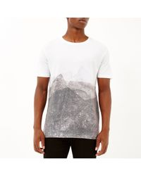 River Island - White Faded Shape Print T-shirt for Men - Lyst