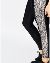 Blue Life - Contrast Lace Legging - Black - Lyst