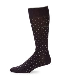Calvin Klein | Purple Pin Dot Crew Socks for Men | Lyst