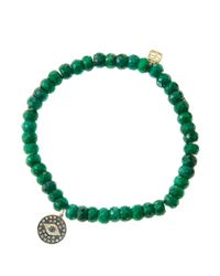 Sydney Evan | Green 6Mm Faceted Emerald Beaded Bracelet With 14K Gold/Rhodium Diamond Small Evil Eye Charm (Made To Order) | Lyst