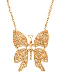 Forever 21 Metallic Beaded Butterfly Pendant Necklace