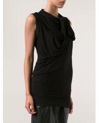 Lanvin Black Sleeveless Drape Top