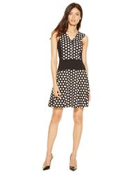 Michael Kors | Black Michael Petite Dot-print Zipper-front Flare Dress | Lyst