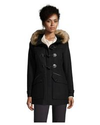 Marc New York | Black Paxton Faux Fur Trim Toggle Coat | Lyst