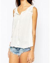 Vila | White Lace Detail Cami Top | Lyst