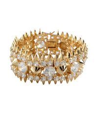 Noir Jewelry | Metallic Gold And Crystal Spike Studded Bracelet | Lyst