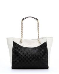 Tory Burch | Black And New Ivory Quilted Leather 'Fleming Tote' | Lyst