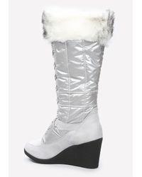 Bebe Black Rhea Puffy Logo Boots