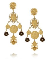 Dolce & Gabbana Metallic Madonne Gold-Plated Faux Pearl Clip Earrings