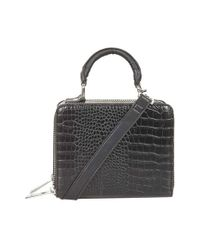 TOPSHOP - Black Croc Effect Box Bag - Lyst