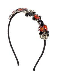 Marni - Black Crystal Embellished Silk Crepe Headband - Lyst