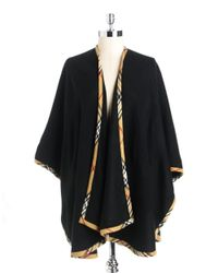 Lord & Taylor Black Solid Ruana Wrap With Plaid Trim