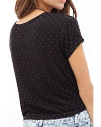 Forever 21 - Black Boxy Dotted Tee You've Been Added To The Waitlist - Lyst