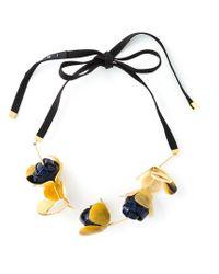 Marni Black Flower Pendant Necklace