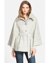 Jessica Simpson Gray Belted Boucle Cape