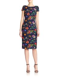 Badgley Mischka - Multicolor Floral Lace Sheath - Lyst