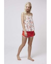 TOPSHOP - Red Christmas Ken Pyjama Set - Lyst