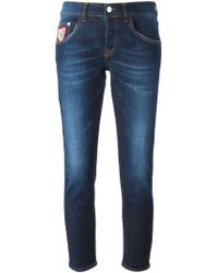 Iceberg - Blue Skinny Cropped Mid-Rise Stretch-Denim Jeans - Lyst