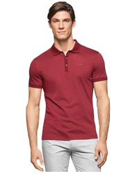Calvin Klein | Red Liquid Cotton Polo for Men | Lyst