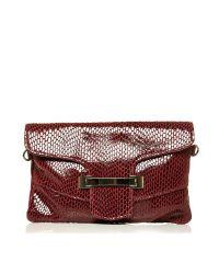 Moda In Pelle Red Zoeyclutch Occasion Handbag