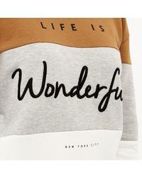 River Island - Gray Grey Wonderful Slogan Sweatshirt - Lyst