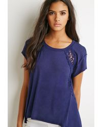 Forever 21 | Blue Embroidered-mesh Tee | Lyst