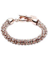 Anne Klein | Pink Rose Gold-tone Crystal Pavé Tubular Toggle Bracelet | Lyst