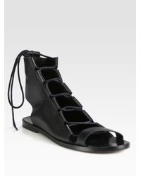 Pierre Hardy - Black Leather Lace-Up Sandals - Lyst