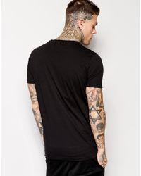 ASOS Black Longline T-shirt With Mock Crocodile Hem Panel Relaxed Skater Fit for men