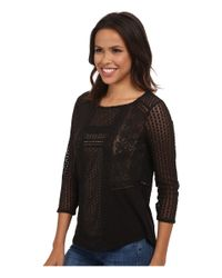 Lucky Brand | Black Lace Peasant Top | Lyst