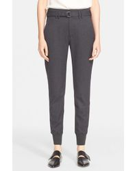 Vince Gray Belted Rib Cuff Jogger Pants