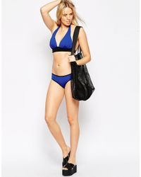 ASOS Blue Mix And Match Marilyn Bikini Top With Contrast Binding