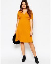 ASOS | Orange Skater Dress With Ruched V Neck | Lyst