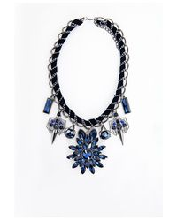 Missguided | Blue Beryl Rope Chain Statement Necklace Navy | Lyst