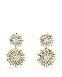 David Yurman Yellow Starburst Double - Drop Earrings With Diamonds In Gold