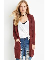Forever 21 | Brown Classic Open-front Cardigan | Lyst