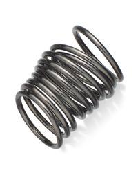 Material Girl Gray Gunmetal-Tone Stackable Midi Ring Set