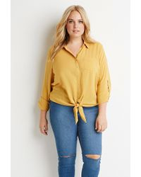Forever 21 | Yellow Plus Size Self-tie Front Shirt | Lyst