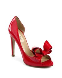 Valentino Red D'orsay Patent Leather Bow Pumps